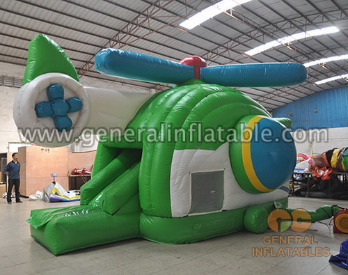 GB-428 Helicopter bounce house with slide